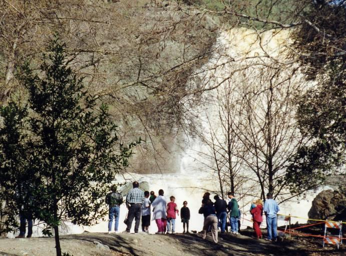 Anderson Reservoir spillway spilling