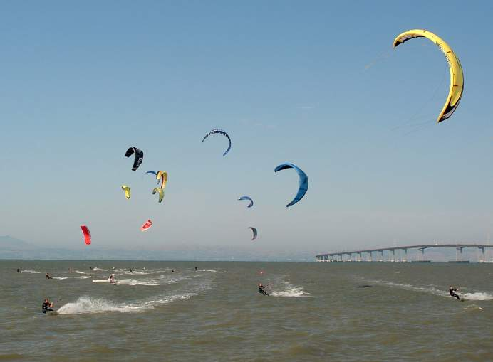 Kiteboarders in the Bay, Foster City